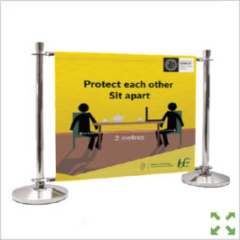 Image of a Covid-19 Branded Barrier from Creo Ireland