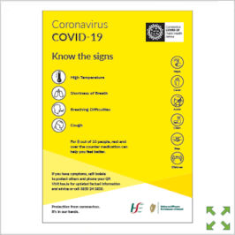Image of a Covid-19 HSE Know the Signs Poster from Creo Ireland
