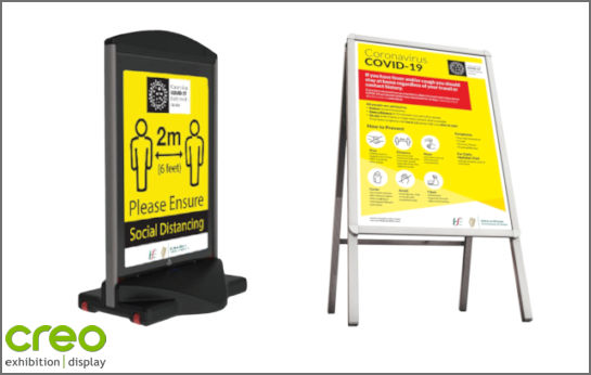 Image of Covid-19 Indoor Outdoor Display Stands from Creo Ireland
