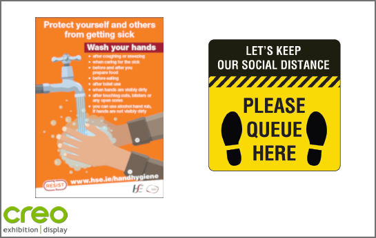 Image of a Covid-19 Preventative/Safety Sign from Creo Ireland