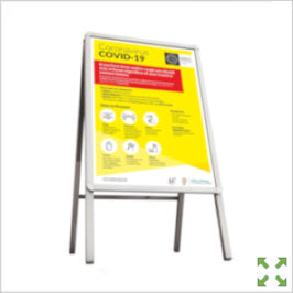 Image of a Covid-19 Sandwich Board from Creo Ireland