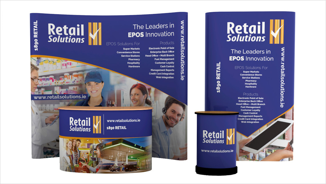 Image of a Nomadic C33 Curved Popup and P31 Straight Popup Stands