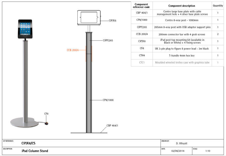 Image of iPad Column Stand Component List