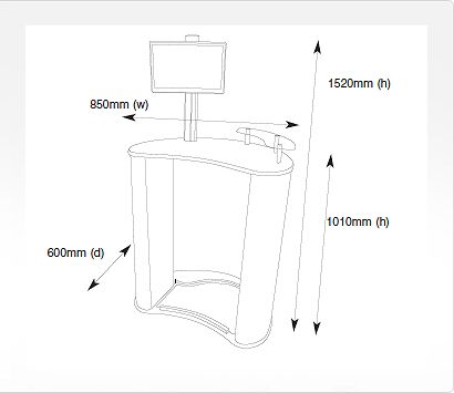 Portable Counter -  Mercury - Dimensions Image from Creo Ireland