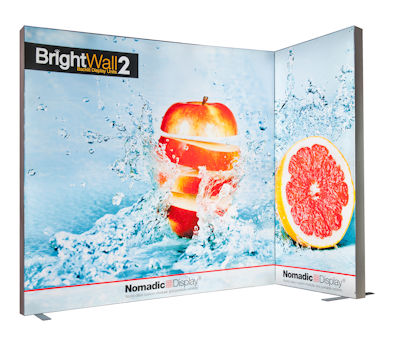 Image of a BrightWall Backlit Display Corner Configuration