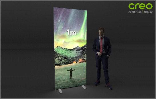 Image of a 1 Metre wide Premium LED Backlit Fabric Display Stand