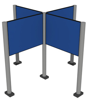 Panel & Pole Fabric Display Boards Linked 90 Degrees