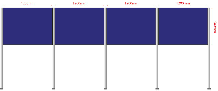 Panel & Pole Fabric Display Boards Linked Straight Line