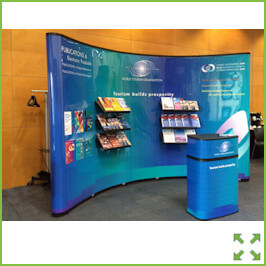 Image of a  Curved Popup Display Stand with Shelves from Creo Ireland