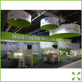 Image of an Nomadic Display Exhibition Stand with Overhead Displays from Creo Ireland