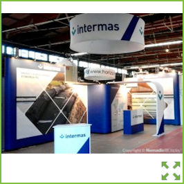 Image of an Nomadic Display Stand with Ceiling Hung Displays from Creo Ireland