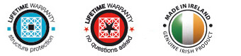 Image of Lifetime Warranty Badges and Made in Ireland Badge